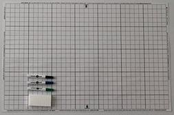 """Battle Grid Game Mat, Dry Erase, White, 24"""" X 36"""" with 3 Mar"""