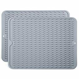 Dish Drying Mat for Kitchen Non-Slip 2 Pcs Silicone Drainer