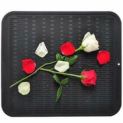 Dish Drying Mat For Kitchen, Silicone Black Dishes Drying Ma