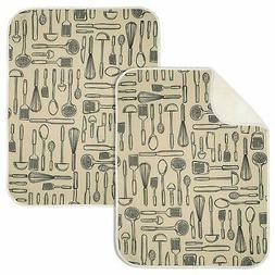 mDesign Absorbent Kitchen Countertop Dish Drying Mat - Pack