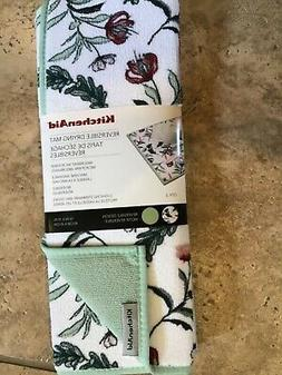 KITCHEN AID REVERSIBLE DRYING MATS 2 PACK  WHITE GREEN RED F