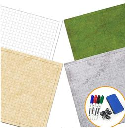 """RPG Battle Game Mat - 2 Pack Dry Erase Double sided 36"""" x 24"""