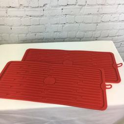 Set of 2 Silicone Drying Mats QVC Kitchen Red