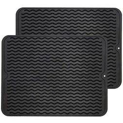 Silicone Dish Drying Mats 2 Packs Easy Clean Dishwasher Safe
