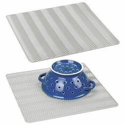 mDesign Silicone Kitchen Dish Drying Mat and Protector - 2 P