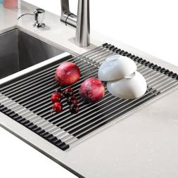 Stainless Steel Dish Drying Rack Over Sink Nonslip Mat Cutle